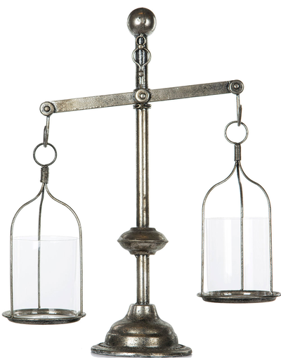 Våg med två skålar balansvåg antiksilver färgad shabby chic lantlig stil
