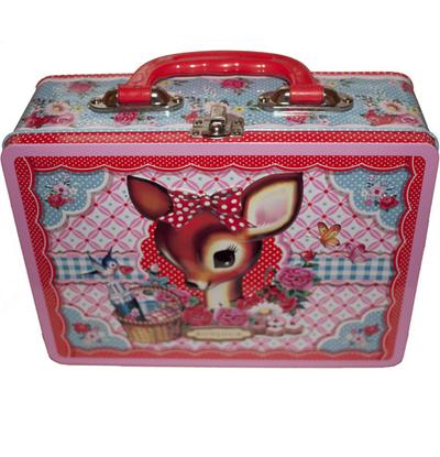 Väska koffert matlåda i präglad plåt Rådjur shabby chic lantlig stil