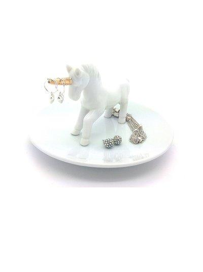 Smyckeshållare Enhörning vit porslin shabby chic lantlig stil