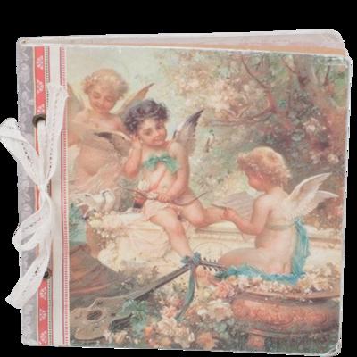 Anteckningsbok notebook Vintage Änglar shabby chic lantlig stil