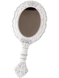 Spegel vit romantisk handspegel oval shabby chic lantlig stil
