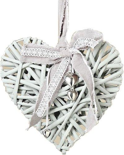 Grått hjärta rotting spets små silverhjärtan shabby chic lantlig stil