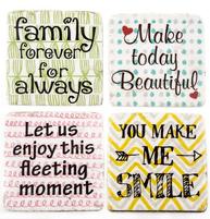 Underlägg glasunderlägg Family Beutiful Moment Smile 4 set shabby chic lantlig stil