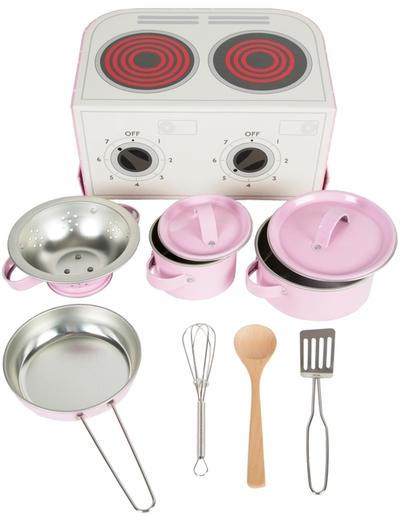 Rosa väska spis barnspis kastruller köksredskap i rosa plåt shabby chic lantlig stil