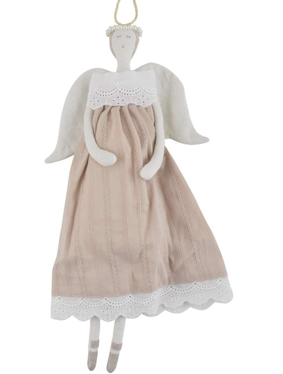 Stor ängel linnebeige med kjol pärlgloria shabby chic lantlig stil