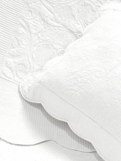 Överkast mullvad taupe vågad kant paisley vackert broderat quilt mönster 2 storlekar shabby chic lantlig stil