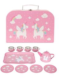 Picknick väska barnservis rosa Enhörning plåt shabby chic lantlig stil