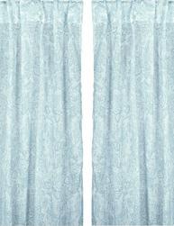 2 st vita turkos blå skira gardin längder shabby chic lantlig stil