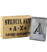 Stora bokstavsschabloner i zink A-Z shabby chic lantlig stil