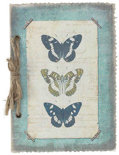 Anteckningsbok notebook Vintage Fjäril shabby chic lantlig stil