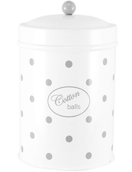 Vit grå prickig plåtburk badrum förvaring Cotton Balls retro emalj plåt shabby chic lantlig stil