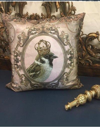 Kuddfodral / kudde Kunglig fågel Van Asch fransk lantstil shabby chic lantlig stil