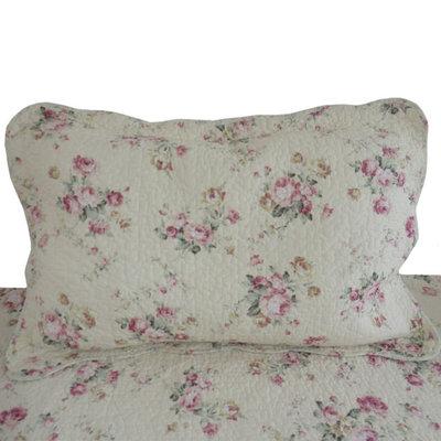 Överkast quilt rosa rosor 2 storlekar shabby chic lantlig stil
