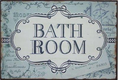 Skylt Plåtskylt Bathroom shabby chic lantlig stil