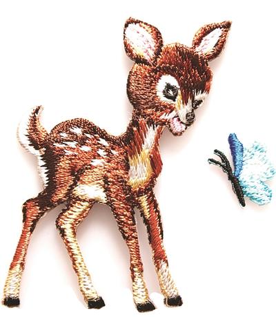 Bambi med fjäril broderad dekoration