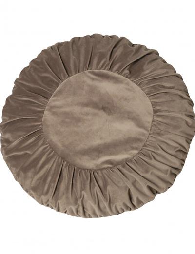 Kuddfodral runt mormor linnebeige mullvad sammet shabby chic lantlig stil