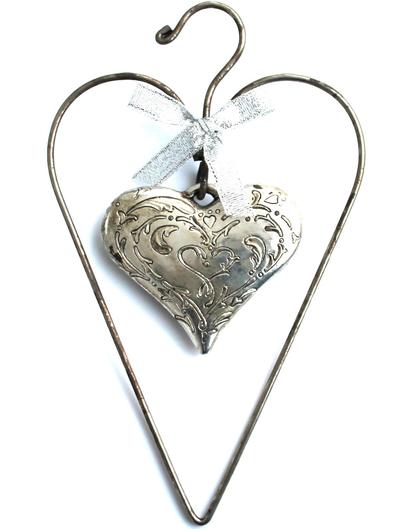 Hängande hjärta antiksilver ornament shabby chic lantlig stil
