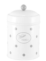 Vit grå prickig plåtburk badrum förvaring Hair Elastics retro emalj plåt shabby chic lantlig stil
