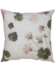 Kuddfodral rosa Pelargon vit botten shabby chic lantlig stil