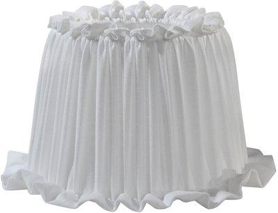Lampskärm Ida Oval vit veckad shabby chic lantlig stil