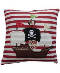 Kudde liten Piratskepp broderad bomull barnrum shabby chic lantlig stil