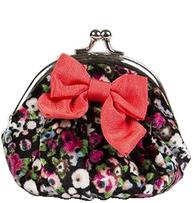 Portmonnä sammet börs med knäppe vintage mörk blommig rosett shabby chic lantlig stil