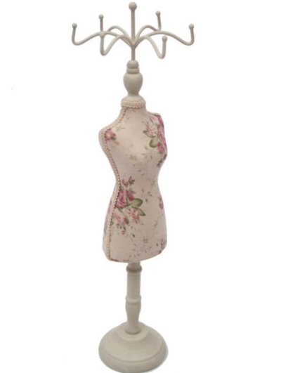 Provdocka smyckeshållare mannequin smyckesställ rosor shabby chic lantlig stil