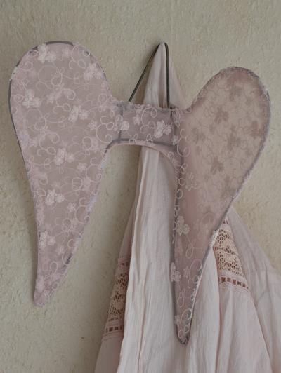 Vingar änglavingar blekrosa rosa spets tyll shabby chic, lantlig stil