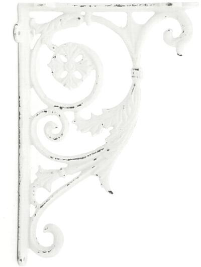 Antikvit vit stor konsoll hyllbärare gjutjärn snirklig shabby chic lantlig stil