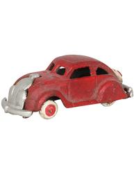 """Röd liten """"Bubbla"""" bil leksak i gjutjärn shabby chic lantlig stil"""