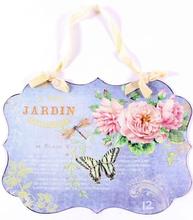 Plåtskylt Jardin trädgård fjäril och rosor shabby chic lantlig stil