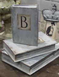 Stora bokaskar boklådor i plåt zink
