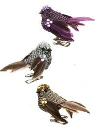 Fågel rosa silver guld på klämma dekoration 3 sorter