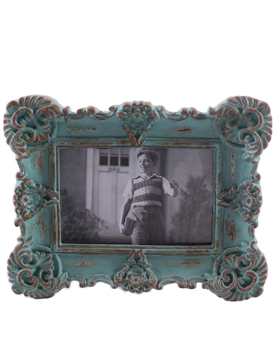 Ram fotoram turkos snirklig gammaldags ram antik-behanlad shabby chic lantlig stil