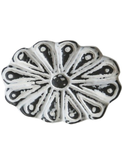 Vit oval ornament  knopp i antik-metall shabby chic lantlig stil