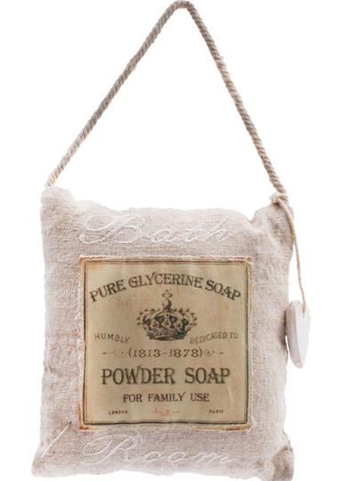 Skylt Bath Room Glycerin soap i tyg shabby chic lantlig stil