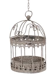 Hängande fågelbur ornament zinkgrå blomampel shabby chic lantlig stil