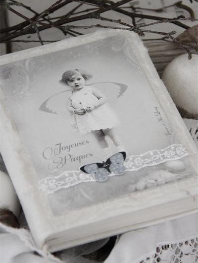 Anteckningsbok fjäril handgjord Jeanne d'Arc Living shabby chic lantlig stil