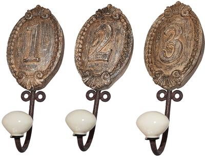 Krokar antik stil siffror 1-3  shabby chic lantlig stil