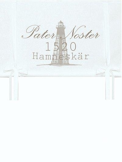 Vit hissgardin fyr vit botten linne beige tryck lantlig stil new england