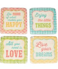 Underlägg glasunderlägg orient pastell  Happy Enjoy Love Dreams 4 set shabby chic lantlig stil