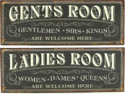 Skylt Toalett damer herrar plåtskylt shabby chic lantlig stil
