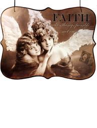Plåtskylt skylt Faith änglar shabby chic lantlig stil