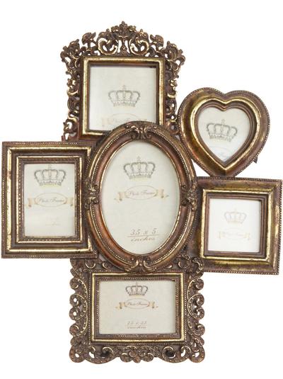 Fotoram antikguld guld Familjeram ram 6 foton romantisk antik stil shabby chic lantlig stil