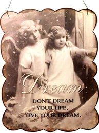 Plåtskylt skylt Dream änglar shabby chic lantlig stil