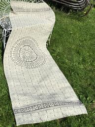 Lång matta Vintage Mosaic grå ljusgrå matta bomull bomullsmatta lantlig stil
