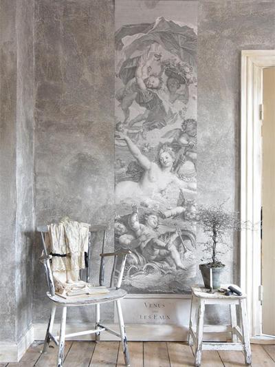 Handgjord tapet poster antikt motiv Venus i vattnet amoriner shabby chic lantlig stil