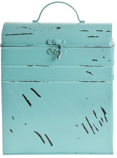 Plåtkoffert turkos 2 storlekar shabby chic lantlig stil