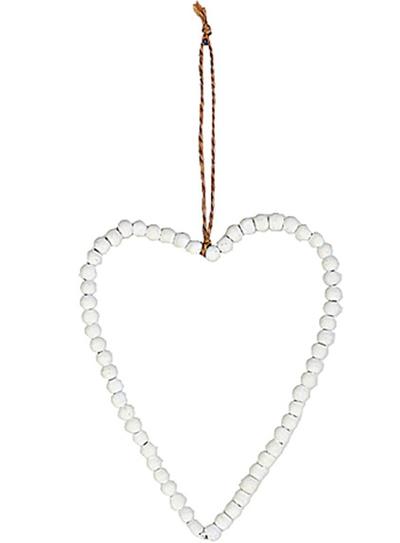 Hjärta av vita pärlor i trä shabby chic lantlig stil