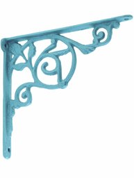 Konsoll hyllbärare gjutjärn snirklig blå gammaldags shabby chic lantlig stil